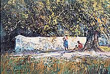 Christopher Tugwell (South African 1938-) WOMEN UNDER THE TREES signed oil