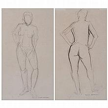 Frans Boekkooi (South African 20th Century-) NUDE STUDIES, two signed penci