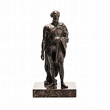 A BRONZE FIGURAL SCULPTURE OF NAPOLEON BONAPARTE standing with hand in wais