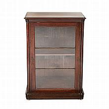 A VICTORIAN MAHOGANY CABINET the shaped moulded rectangular top above a mou