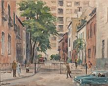 Victor de Lima (Mexican 20th Century-) STREET SCENE signed oil on canvas 39