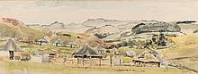 Durant Basi Sihlali (South African 1935-2004) RURAL SETTLEMENT signed and d