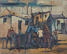 Ephraim Mojalefa Ngatane (South African 1938-1971) TOWNSHIP SCENE signed an