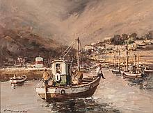 Christiaan St Patrick Nice (South African 1939-) FISHING BOAT IN THE HARBOU