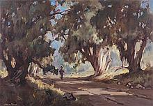 Johan (Johannes) Oldert (South African 1912-1984) TREE-LINED PATH, CENTURIO