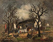 George Enslin (South African 1919-1972) FARMHOUSE WITH TURKEYS signed and d