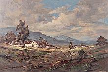 Johan (Johannes) Oldert (South African 1912-1984) LANDSCAPE signed oil on c