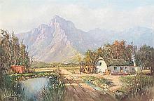 Gabriel Cornelis de Jongh (South African 1913-2004) COTTAGE IN A LANDSCAPE