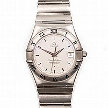 A GENTLEMAN'S STAINLESS STEEL WRISTWATCH, OMEGA CONSTELLATION CHRONOMETER a