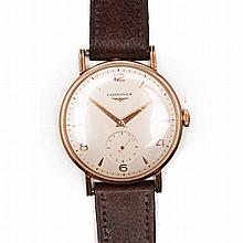 A GENTLEMAN'S 18CT ROSE GOLD WRISTWATCH, LONGINES automatic, the circular c