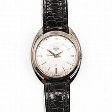 A GENTLEMAN'S STAINLESS STEEL WRISTWATCH, HEUER automatic, the circular sil