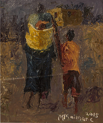 Michael Maimane (South African 1961-) FIGURES WALKING HOME signed and dated