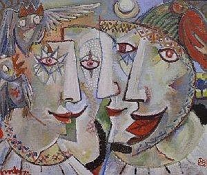Hardy Botha (South African 1947-) JESTERS IN A LANDSCAPE signed, signed with the monogram and dated 74 canvas laid down on board 76 by 88cm