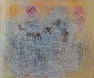 Shoichi Hasegawa (Japanese 1929-) CIEL EN FETE etching in colours, signed, with the monogram, numbered 53/99 and inscribed with the title in pencil in the margin 48,5 by 59cm