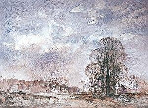 Rowland Hilder (British 1905-1993) FEBRUARY LANDSCAPE signed pencil, charcoal and watercolour 53 by 72,5cm PROVENANCE The Everard Read Gallery, Johannesburg LITERATURE Denis Thomas (Introduction), Rowland Hilder's England, The Herbert Press, Great