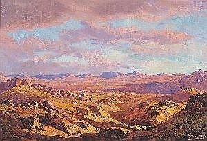 Tinus (Marthinus Johannes) de Jongh (South African 1885-1942) SUNSET IN THE KAROO signed, inscribed with the title on the reverse 32 by 46 5cm ILLUSTRATED