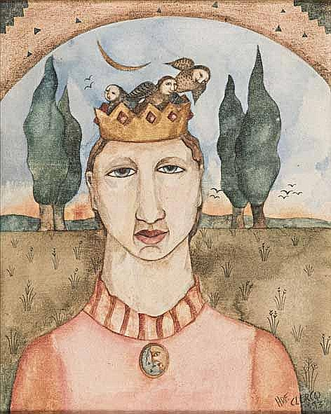 Hannetjie De Clercq (South African 1958 -) QUEEN signed and dated 93 oil on