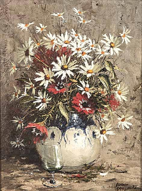 Hennie Griesel (South African 1931-) STILL LIFE WITH FLOWERS AND A SHERRY G