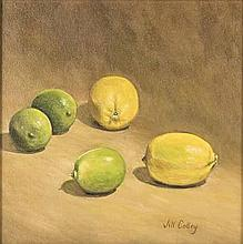 Jill Colley (South African 20th Century-) LEMONS AND LIMES signed oil on ca
