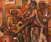 Kenneth Baker (South African 1931-1995) MUSICIANS signed oil on board 37 by