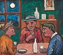 Kenneth Baker (South African 1931-1995) THE CONVERSATION signed oil on boar