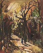 Kenneth Baker (South African 1931-1995) FIGURES ALONG A TREE-LINED PATH sig