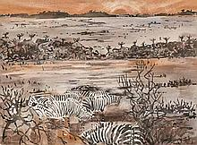 Gordon Frank Vorster (South African 1924-1988) LANDSCAPE WITH ZEBRA signed