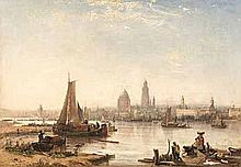 Continental School ( 17th/18th Century-) HARBOUR oil on canvas 62 by 90cm