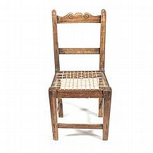 A CAPE STINKWOOD SIDE CHAIR the scrolled top rail above a reeded mid-rail b