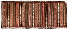 A KURDI KELIM, WEST PERSIA, MODERN the field with horizontal decorated band