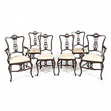 A SET OF SIX MAHOGANY CHAIRS, W. WHITLEY, LONDON comprising: four side chai