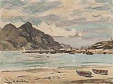Robert Broadley (South African 1908-1988) HOUT BAY HARBOUR signed oil on bo