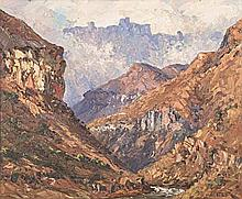 Willem Hermanus Coetzer (South African 1900-1983) MOUNTAIN SCENE signed oil