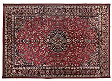 A MESHED CARPET, EAST PERSIA, MODERN the burgundy-red field with a black an