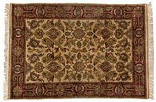 AN INDO-PERSIAN RUG, MODERN the ivory field with an overall design, multi-c