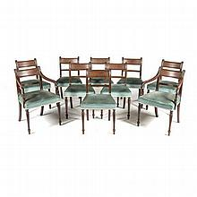 A SET OF TEN REGENCY STYLE MAHOGANY DINING CHAIRS comprising: eight side ch