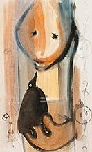 Pieter van der Westhuizen (South African 1931-2008) FIGURE WITH BIRD signed