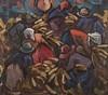 Hendrik Christiaan Niemann (South African 1941-) HARVESTERS IN A FIELD oil, Hendrik Christiaan Niemann, R25,000