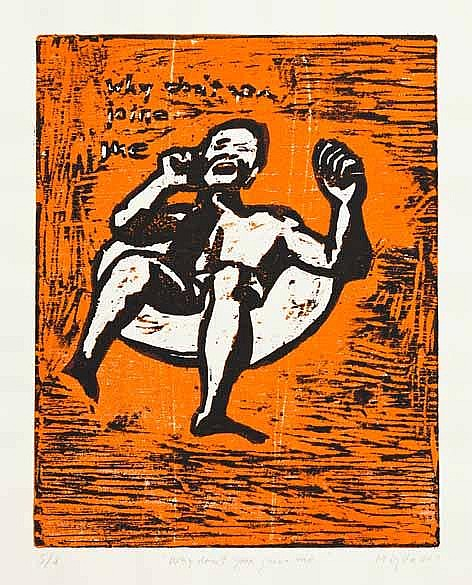 Manfred Zylla (South African 1939-) WHY DON'T YOU JOIN ME silkscreen, signe