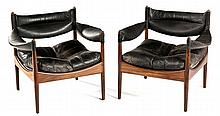 A PAIR OF ROSEWOOD AND LEATHER MODUS ARMCHAIRS DESIGNED BY KRISTIAN SOLMER