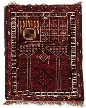 AN AFGHAN PRAYER RUG, MODERN the red mehrab with twin columns and gul, red