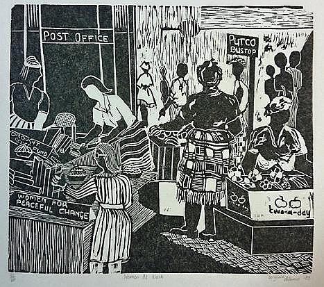Bongiwe Dhlomo (South African 1956 -) WOMEN AT WORK linocut on chine collé,