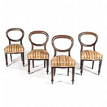 A SET OF FOUR VICTORIAN WALNUT BUSTLEBACK SIDE CHAIRS each moulded open fra