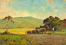 Walter Gilbert Wiles (South African 1875-1966) LANDSCAPE WITH OXEN signed o