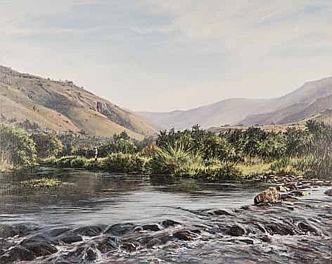 Paddy Starling (South African 1940-) FISHING ALONG THE RIVER signed oil on
