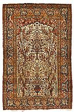 AN ISPAHAN PRAYER RUG, PERSIA, CIRCA 1930 the ivory mehrab with an ascendin