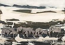 Gordon Frank Vorster (South African 1924-1988) DESERT ELEPHANTS NORTHERN NA