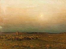 Georges Ricard-Cordingley (French 1873-1939) SHEPHERD AND FLOCK signed and