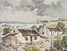 Bruce Hancock (South African 1912-1990) COTTAGES AT ARNISTON signed oil on