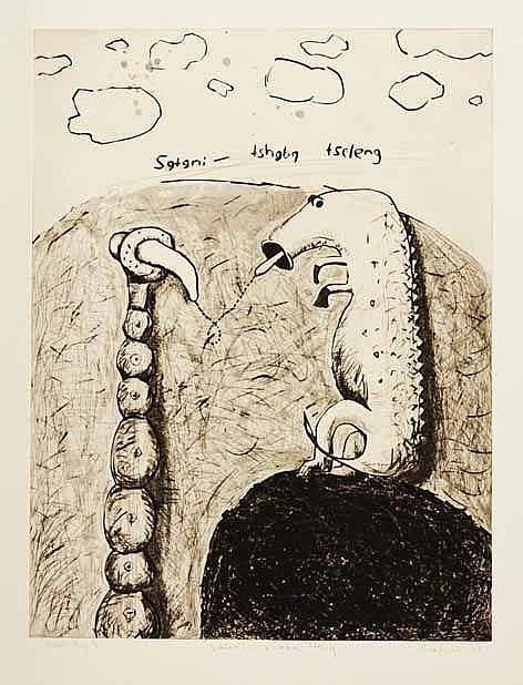Colbert Mashile (South African 1972-) SATANI TSHABA TSELENG drypoint, signe